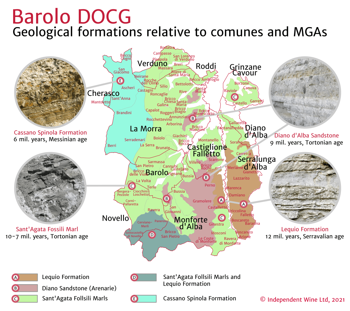 Barolo DOCG Gelogical formations relative to comunes and MGAs