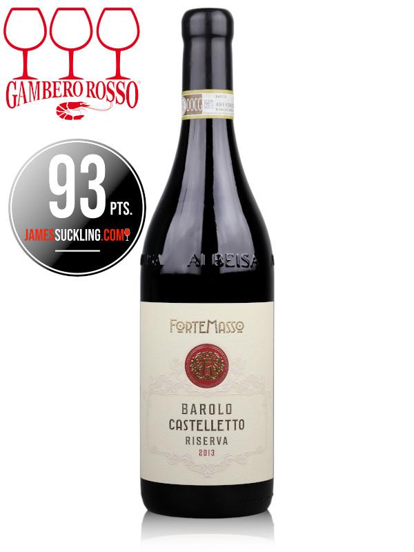 Bottle of Italian red wine ForteMasso Barolo Castelletto Riserva 2013