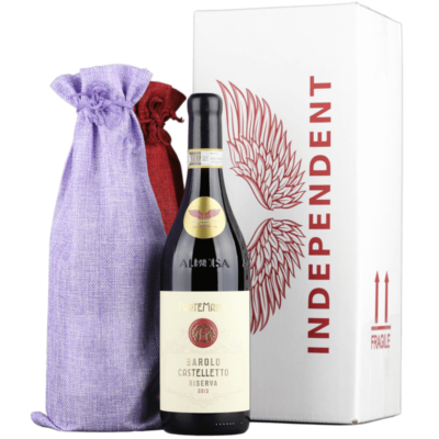 Independent Wine Gift Wrap with bottle of Barolo Castelletto Riserva 2013