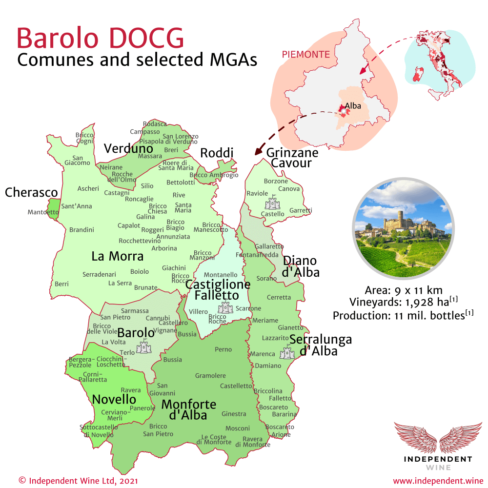 Independent Wine - Map of Barolo DOCG winemaking area, with Comunes and MGAs