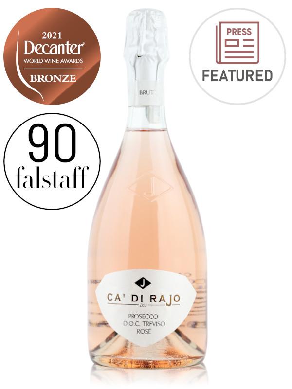 Bottle of sparkling pink Prosecco rosé wine Ca' di Rajo Prosecco DOC Treviso Rosé Millesimato