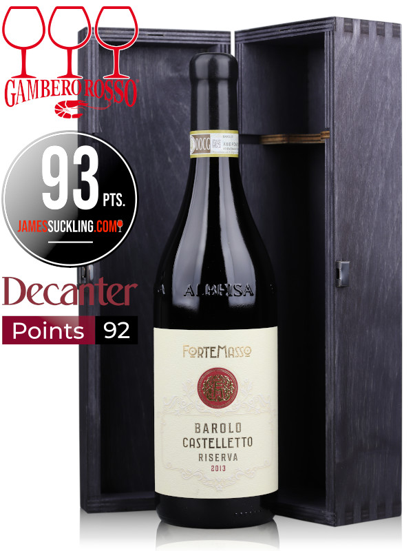 Wine Gift Set, bottle of Italian red wine ForteMasso Barolo Castelletto Riserva DOCG 2013 and wooden gift box