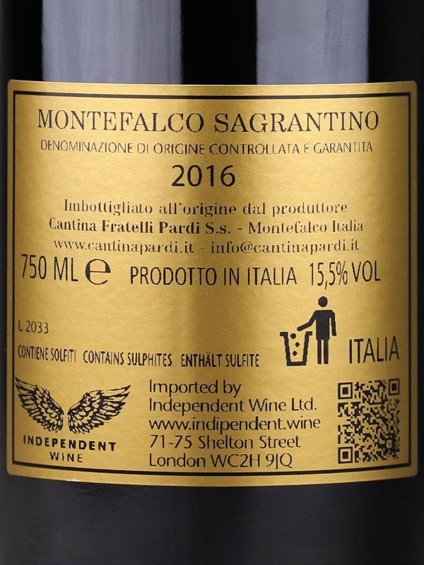 Back label of Fratelli Pardi Montefalco Sagrantino DOCG 2016