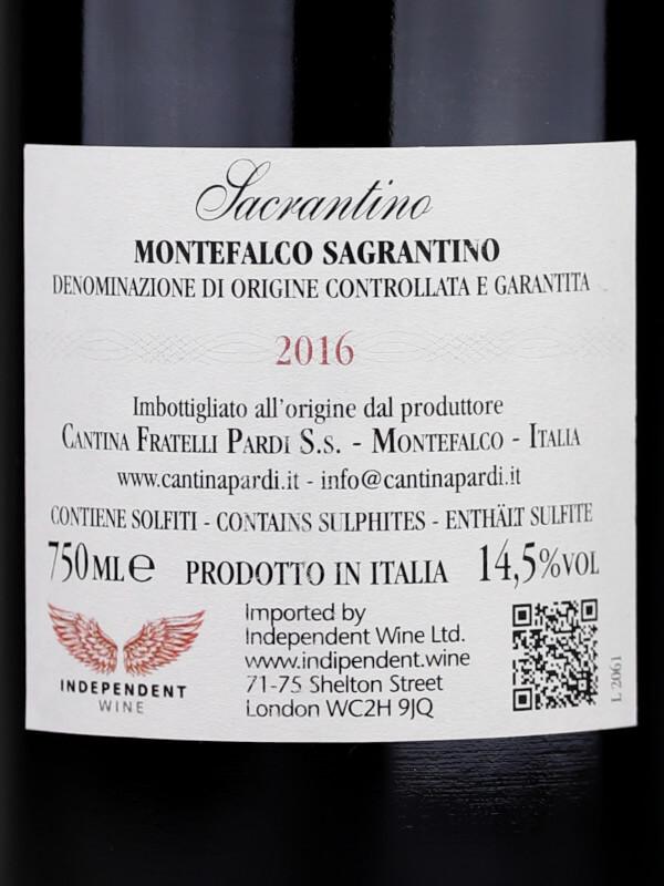 Back label of Sacrantino Montefalco Sagrantino 2016