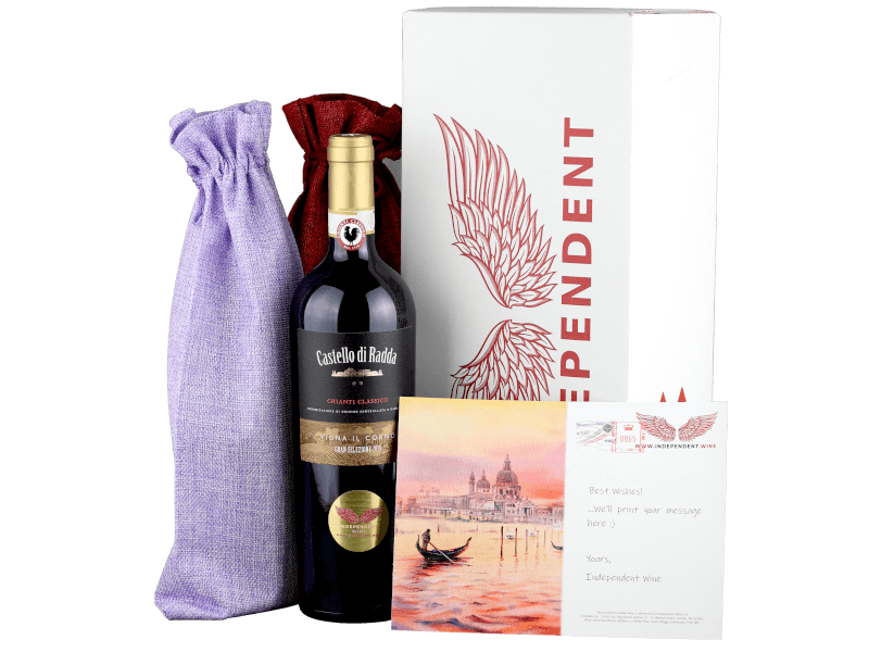 Bottles of wine in gift wrapping, Castello di Radda, box of wine and best wishes card