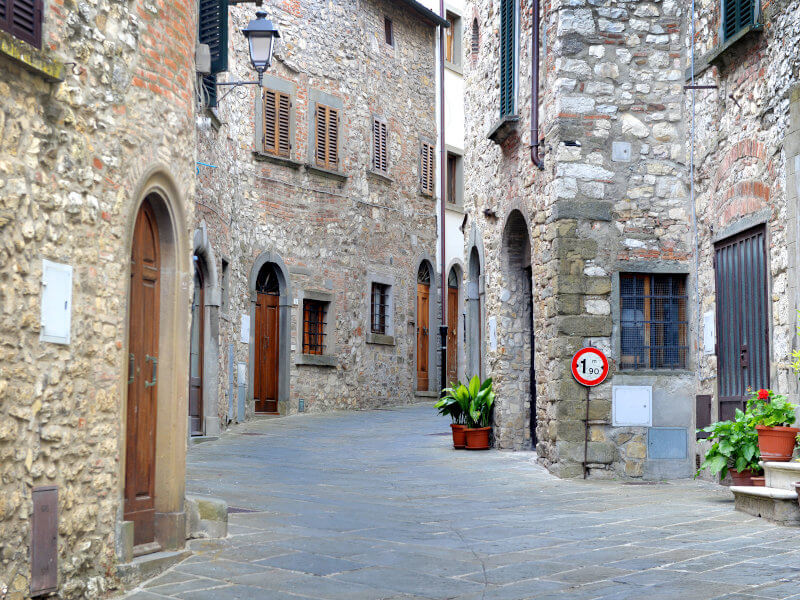 Cobbled street in the village of Radda in Chianti, Tuscany, Italy