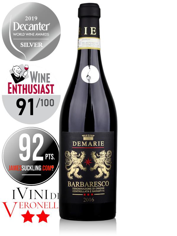 Bottle of Italian red wine Demarie Barbaresco DOCG 2016