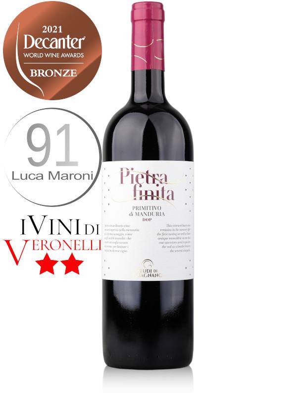 Bottle of Italian red wine Feudi di Guagnano Pietrafinita Primitivo di Manduria DOC 2019