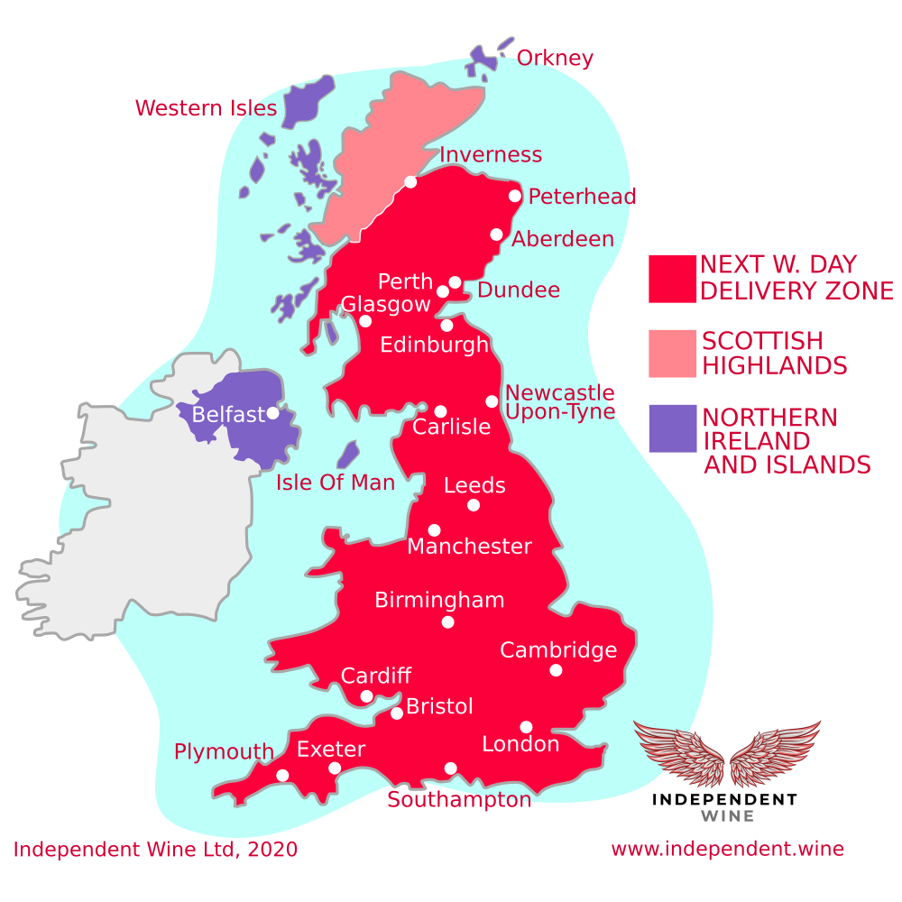 Independent Wine Map of Delivery Zones as of 16 April 2021
