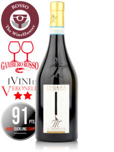 Bottle of Italian white wine Le Morette Benedictus Lugana DOC 2019