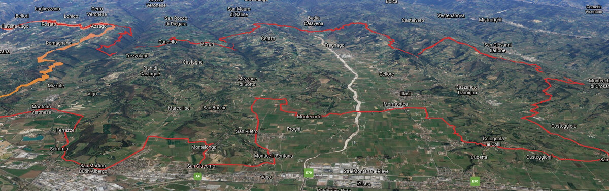 3D view of the Valpolicella Orientale zone