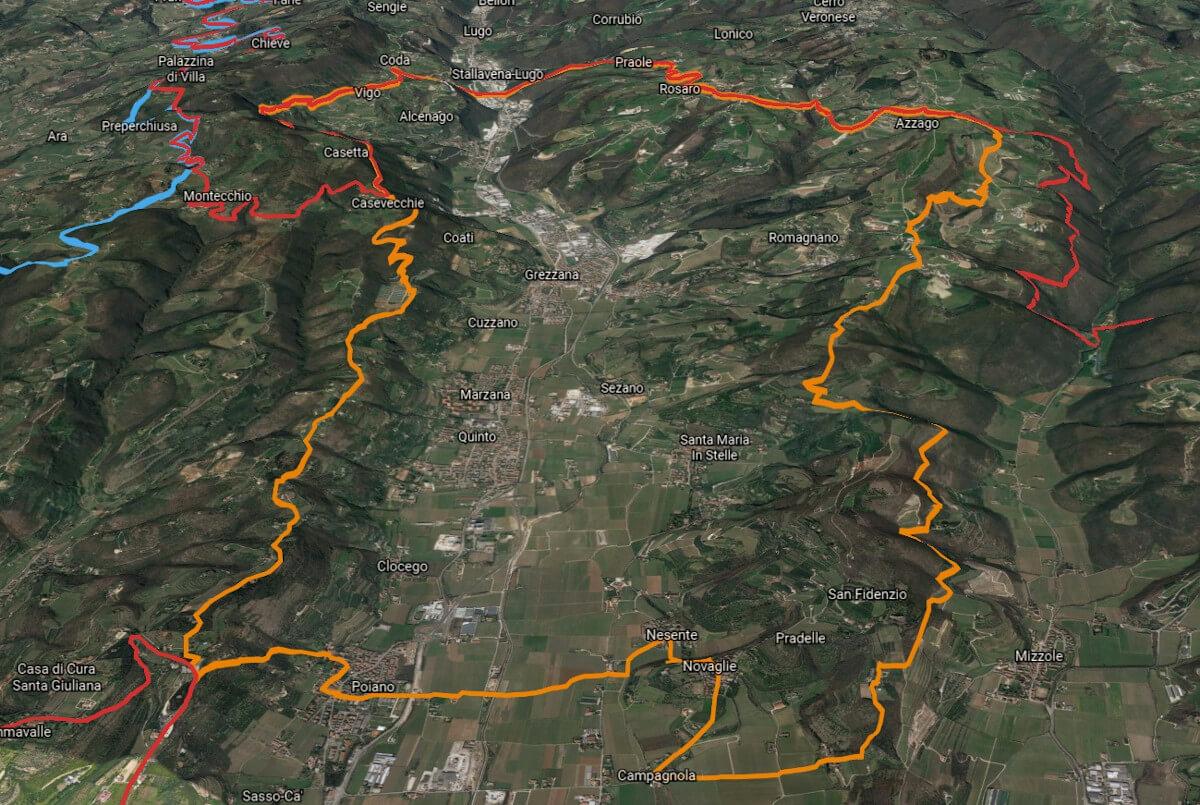 3D view of the Valpolicella Valpantena zone