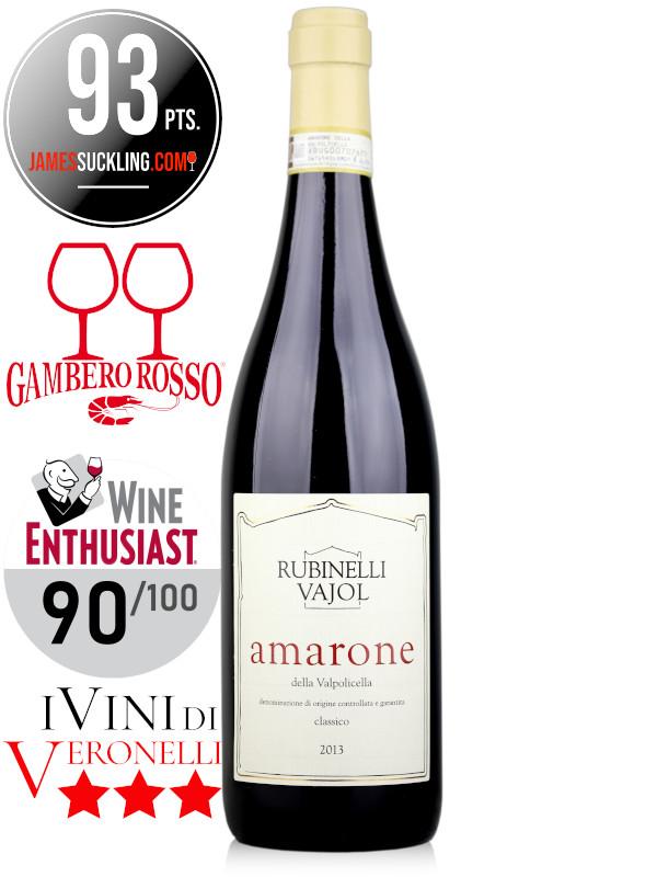 Bottle of Italian red wine Rubinelli Vajol Amarone della Valpolicella DOCG 2013