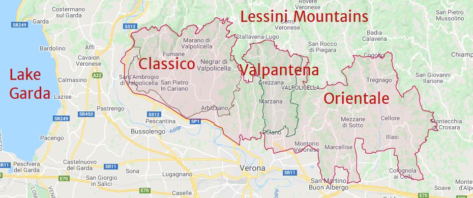Map of the Valpolicella winemaking area, Veneto, Italy