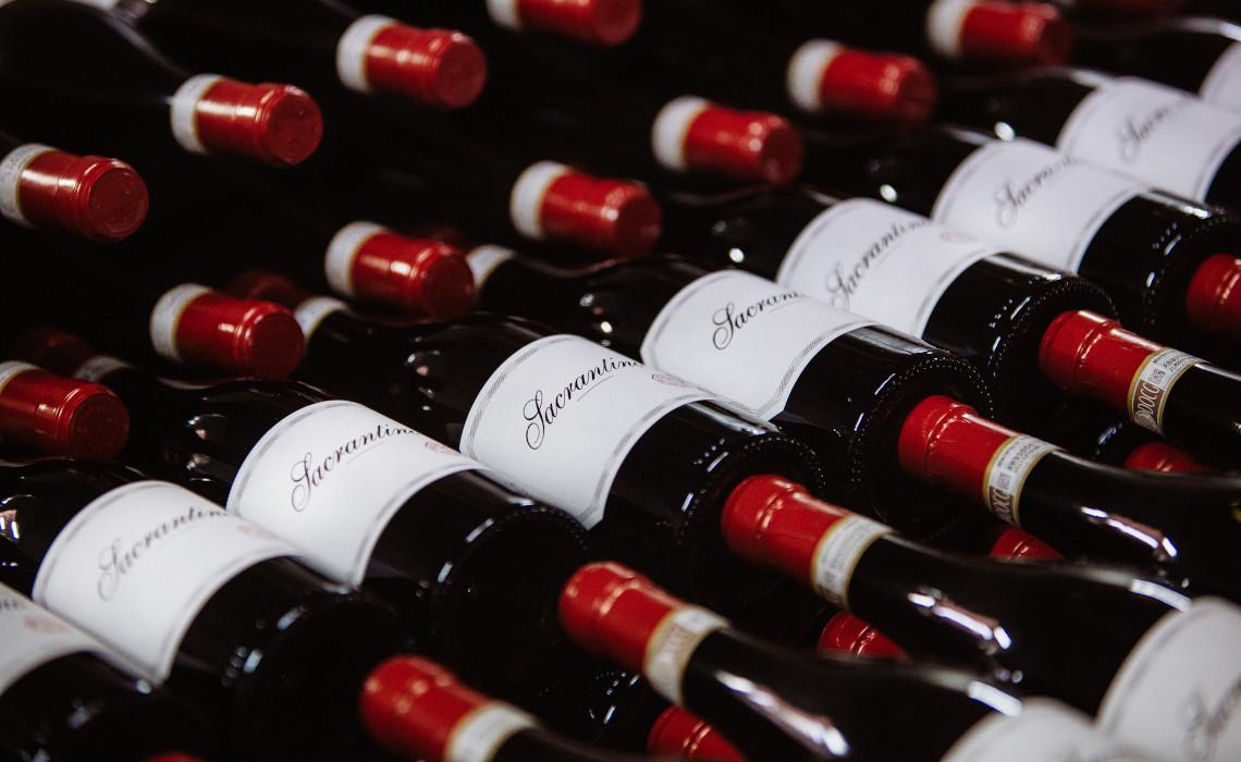 Stacked Bottles of Sacrantino Sagrantino Montefalco DOCG