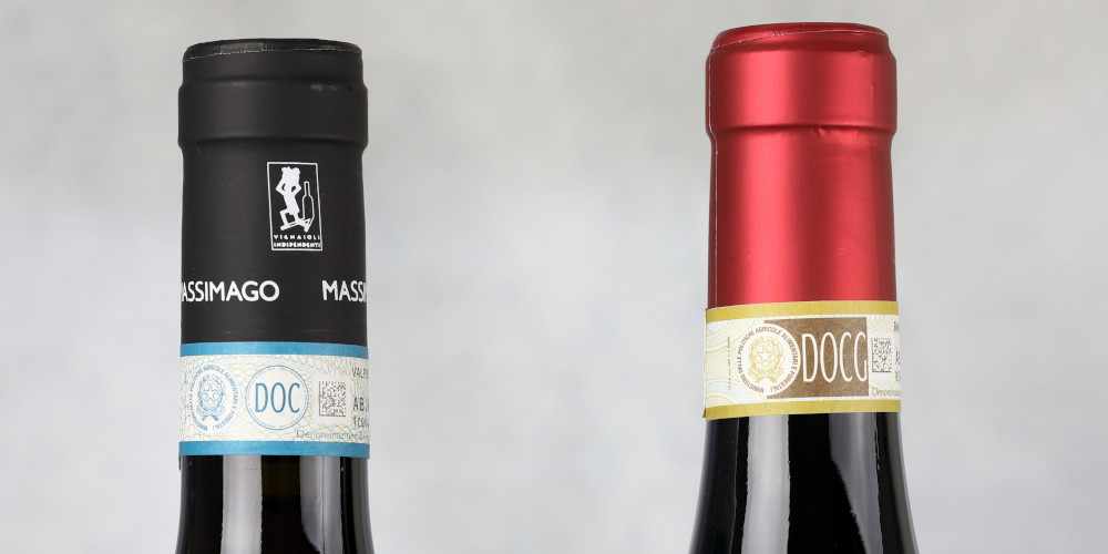 Wine Bottles with DOC and DOCG Fascette