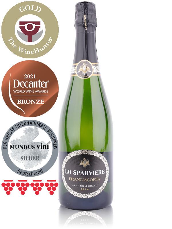 Bottle of Italian sparkling wine Lo Sparviere Franciacorta DOCG Brut Millesimato 2014