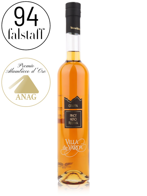 Bottle of grappa - Villa de Varda Pinot Nero Reserva Grappa aged in oak, acacia and cherry wooden casks